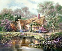 Twilight at Woodgreen Pond by Carl Valente ~ English country cottage in Spring
