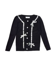 Sequin-Bow Knit Cardigan, Black, Sizes 8-14  by Milly Minis at Bergdorf Goodman.