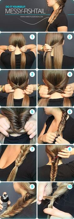 Messy Fishtail Braid Tutorial: Side Loose Braided Hairstyles - Great step by step instructions with photos!: Messy Fishtail Braid Tutorial: Side Loose Braided Hairstyles - Great step by step instructions with photos! Messy Fishtail Braids, Quick Braids, How To Braid Hair, How To Make Braids, Fishtail Braid Styles, Waterfall Braid Tutorial, Prom Braid, Diy Braids, Hairstyle Tutorials