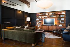 A great masculine color palette. From rooms to watch the Super Bowl in | Lonny.com