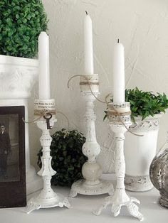 Turn ugly old flea market or thrift store lamps into beautiful candle holders. Just remove the wire and add some spray paint. A great way to repurpose old lamps.