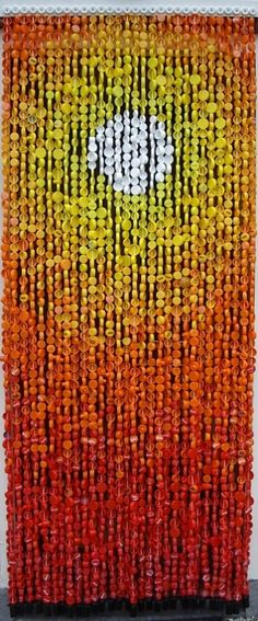 Plastic bottle cap curtain