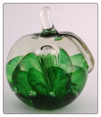 St. Clair Green Art Glass Apple Paperweight Bubbles Veiled 1971 LH  $49.99