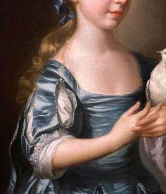 """Fillette avec une colombe (détail), by Joseph Wright (of Derby) (English, 1734-1791)"