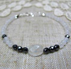 Moonstone & Hematite Bracelet Tiny Gemstone Bracelet 925
