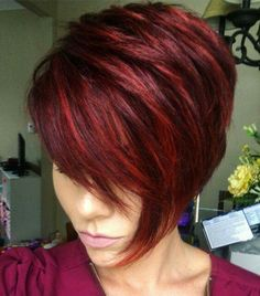 Red bob hairstyle, haircut and color, hairstyle ideas, pretty hairstyle Short Red Hair, Short Hair Cuts, Short Hair Styles, Short Pixie, Pixie Cuts, Sassy Hair, Red Hair Color, Hair Colors, Funky Hairstyles