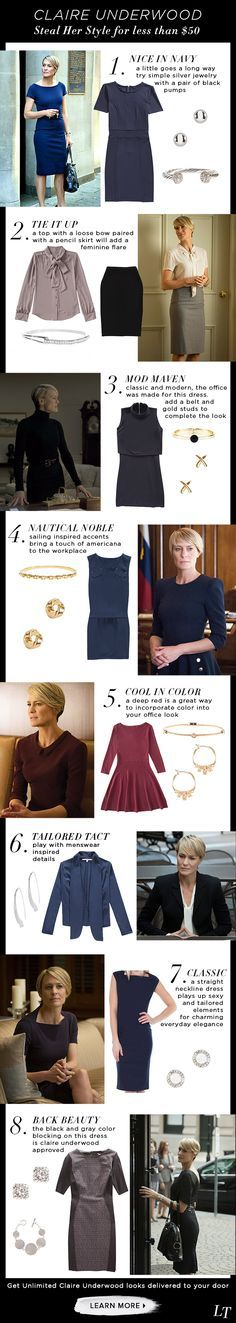 Get Claire Underwoods classic, charming, and beautiful professional style by following these tips! The office outfits are perfect for you.