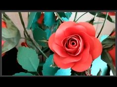 Rose paper flower - Làm hoa hồng từ giấy A4 - YouTube