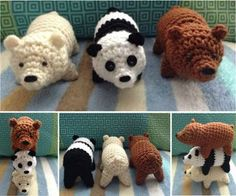 "Trio of Bears Free Crochet. This would be the best bears to go with the book ""brown bear, brown bear what do you see"""