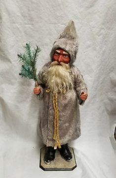 Vintage Saint Nicholas Santa w/ Mohair Coat Christmas Candy Container Woodland Christmas, Christmas Store, Antique Christmas, Primitive Christmas, Father Christmas, Retro Christmas, Christmas Items, Christmas Candy, Christmas Art
