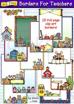 15 clipart borders for teachers, schools & smiles by DJ Inkers