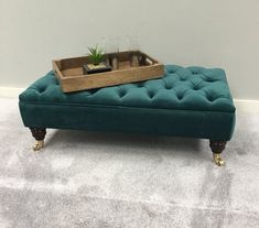 Leather Chair With Ottoman Footstool Coffee Table, Velvet Footstool, Velvet Stool, Ottoman Footstool, Fabric Ottoman, Large Footstools, Green Ottoman, Warwick Fabrics, Big Chair