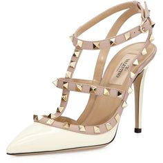 Valentino Rockstud Patent Sandal, Ivory (64.340 RUB) ❤ liked on Polyvore featuring shoes, sandals, heels, pumps, zapatos, high heels, strap sandals, ankle strap heel sandals, valentino shoes and high heel sandals