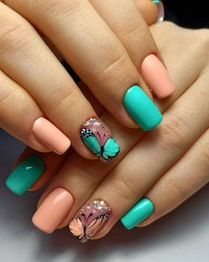 Nail Art Designs and Colors for Summer Spring Nails, Summer Nails, Acrylic Nail Designs, Nail Art Designs, Hot Nails, Hair And Nails, Butterfly Nail Art, Nail Designs Spring, Glitter Nail Art