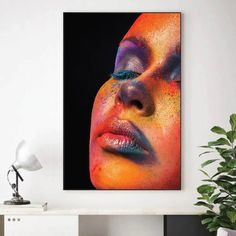 Give any open wall in your home a tasteful touch of glamour with this painting print. This showcases a contemporary design featuring a painted woman's face. Canvas Prints Canvas prints are a fun and easy way to add a personal touch to your living space. Shop our unstretched canvas prints for local custom framing. This allows you to frame or hang your print to your own specifications. Packaging, Material and Size Canvas prints do not include a stretcher bar or picture frame. It will arrive… Abstract Canvas, Canvas Art, Canvas Prints, Framed Art, Framed Prints, Open Wall, Floating Frame, Elegant Woman, Canvas Frame
