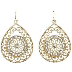 Charlotte Russe Gold Rhinestone Filigree Teardrop Earrings by... ($6) ❤ liked on Polyvore featuring jewelry, earrings, gold, yellow gold earrings, gold filigree earrings, fish hook earrings, filigree earrings and gold jewelry