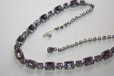 Vintage Lavender Rhinestone Necklace Purple 1950s by patwatty, $35.00