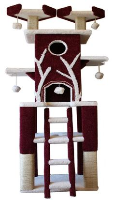 """Katimanjaro Cat Tower: This is a mountain of a Cat Condo. This Cat Tree is over 7 feet tall and designed to last. Your Kitties can climb between levels inside the Cat Condos as the platforms are designed to allow easy upward travel. Katimanjaro Cat Furniture has many features and levels to ensure plenty years of entertainment for your """"kids."""""""