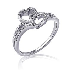 1/4 CT. T.W. Diamond Entwined Hearts Promise Ring in Sterling Silver - Zales so pretty
