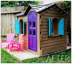 Use Spray Paint to update kids retro plastic play houses | Ashley's Cupboard: Suburban Graffiti