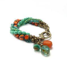 Boho Bracelet Multi Strand Picasso Glass by RockStoneTreasures