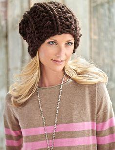 Yarnspirations.com - Bernat Big Textures Hat - Free Pattern - Knit - Beginner    Yarnspirations