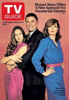 "TV Guide March 1980 ~ Mary Crosby, Larry Hagman and Linda Gray of ""Dallas"" I Dream Of Jeannie, Mary Crosby, Dallas Tv Show, Larry Hagman, Victoria Principal, Linda Gray, Vintage Television, Kino Film, Old Tv Shows"