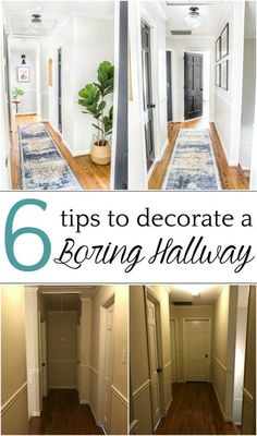 6 Tips to Decorate a Boring Hallway - DIY and decorating ideas to add interest to a boring window-less hallway thrifting project tutorials and free printables to pull it off inexpensively hallway hallwaydecor hallwaydecorating Flur Design, Home Design, Diy Design, Interior Design, Narrow Hallway Decorating, Hallway Ideas Entrance Narrow, Modern Hallway, Narrow Entryway, White Hallway