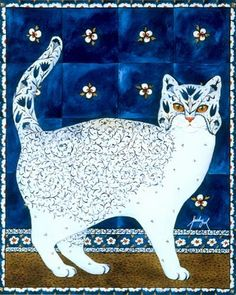 floral cat, artist not given unless this is it: Feridun Oral I Love Cats, Crazy Cats, Fancy Cats, Cat Quilt, Cat Colors, Blue Cats, Art Themes, Here Kitty Kitty, Cat Drawing