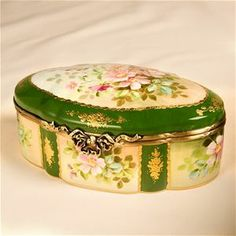 Limoges Antique Roses Green Treasure Chest The Cottage Shop
