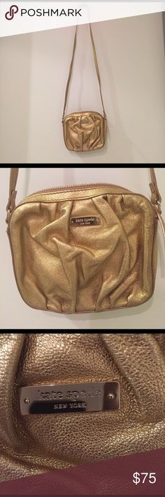 Metallic Gold Raina Kate Spade Crossbody Beautiful never worn Kate Spade Crossbody - in amazing condition! Comes with dust bag! kate spade Bags Crossbody Bags