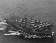 Escort carrier USS Block Island (CVE-21) off Norfolk, VA, 15 October 1943, with 9 FM-1 Wildcats and 12 TBF-1C Avengers. (US Navy photo). On 29 May 1944, she was sunk by U--549 off the Canary Islands (6 killed), the only US carrier sunk in the Atlantic.