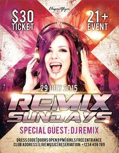 Free Remix Sundays PSD Flyer Template - http://freepsdflyer.com/free-remix-sundays-psd-flyer-template/ The Free Remix Sundays PSD Flyer Template was designed to promote your next DJ party and club event. Promote your special club DJ! This print ready free flyer template includes a 300 dpi print ready CMYK file. All main elements are editable and customizable.   #Beats, #Club, #Dance, #DjBattle, #EDM, #Electro, #Event, #Lounge, #Mashup, #Minimal, #Night, #Nightclub, #Party