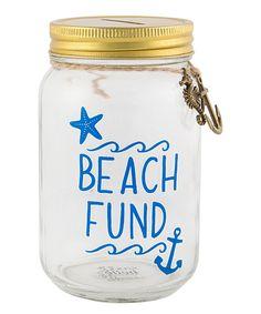 Take a look at this 'Beach Fund' Mason Jar Money Bank today!