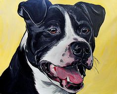 """WOOF Factory Dog Art by   Steph Fitzsimmons  CUSTOM dog painting pet portrait dog art from your photo 20x16""""  http://www.wooffactory.com    http://www.etsy.com/shop/wooffactory    http://society6.com/WoofFactory"""