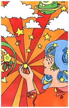 A poster I did in art class when we were studying Peter Max. When I was working on it, I always called it my hippie poster. 60s Art, Retro Art, Psychedelic Art, Art Pop, Peter Max Art, Hippie Posters, Retro Kunst, Kunst Poster, Art Furniture