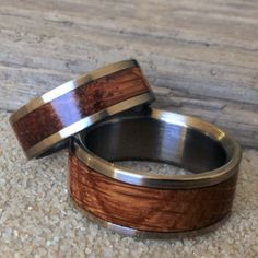Wedding Ring Set Handcrafted from Vintage Charred Oak Whiskey Barrels