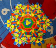 Mrs. Yollis' Classroom Blog: Tremendous Two Week Tessellation - a pattern growing out from the centre with pattern blocks