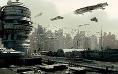 Heavy Air Traffic futuristic city