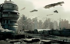 Heavy Air Traffic futuristic city