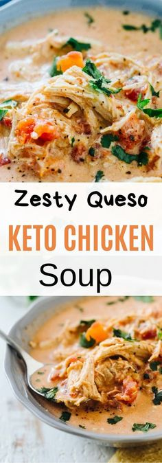 Zesty Queso Keto Chicken Soup – place in crockpot, cook on low for 6 hours. Shred chicken, and whisk cream cheese in. Zesty Queso Keto Chicken Soup – place in crockpot, cook on low for 6 hours. Shred chicken, and whisk cream cheese in. Keto Crockpot Recipes, Slow Cooker Recipes, Low Carb Recipes, Diet Recipes, Healthy Recipes, Lunch Recipes, Dessert Recipes, Zoodle Recipes, Venison Recipes
