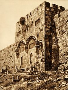 A replica of an old postcard of the Golden Gate in Jerusalem. This is the only gate in the wall of Jerusalem and according to tradition it is the gate through which Jesus entered the holy city (affiliate link). Israel Palestine, Jerusalem Israel, Israel History, Jewish History, Christian Devotions, In Ancient Times, Ancient Greek, Holy Land, Heritage Site