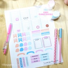 Kawaii Planner Stickers - preview | Free for personal use only. Suitable for Erin Condren Life planners and other similar weekly planners.