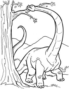 Dibujo colorear dinosaurio Diplodocus comiendo