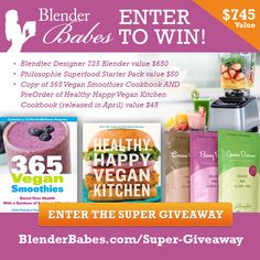 $745 SUPER #GIVEAWAY + Secret Ingredient Match Shake #Recipe from #365VeganSmoothies with @LunchBoxBunch @PhilosophieMama and @BlenderBabes!  Win a @blendtec Designer 725 Blender ($650 value), Philosophie Starter Pack ($50 value) and 365 Vegan Smoothies & Healthy Happy Vegan Kitchen Cookbook (value $45). TOTAL VALUE $745!!  Click to website to get 20% OFF Promo Code: BLENDERBABES on Philosophie SuperFoods