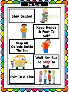 Bus Visual Rules by Behavioral Momentum School Bus Safety, School Bus Driver, First Week Activities, Preschool Activities, Beginning Of School, Back To School, School Days, Safety Rules For Kids, Bus Crafts