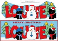 Christmas Jazz Dogs Snowman LOUIE large dl on Craftsuprint by Designer Eva Cano