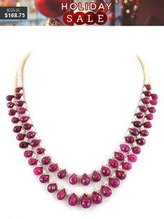 Two Row African Ruby Gemstone Necklace With #jewelry #necklace @EtsyMktgTool #beadswholesale #certifieddiamonds #beadedjewelery