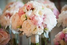 pink and white peony, rose, ranunculus and orchid bouquets by Posey Events
