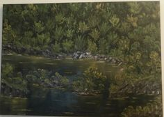 Oil Painting Handmade Canvas Dark Shades of Green Waters Forest Trees Landscape Original Art Living Room Library Decoration Hand Painted